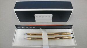 Cross 10k Gold Set Ballpoint Pen & 0.5mm Pencil In Box Made In Usa 450105 Mint *