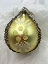 Antique Wire Wrap Glass Christmas Ornament Gold Hand Painted White Decoration