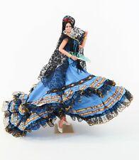 Vintage Large Marin Chiclana Spanish Flamenco Dancer Blue Dress Doll Figurine