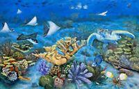 """Original Large 24"""" x 36"""" REALISM Turtle sea underwater reef painting - J Belote"""