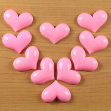 10pc Pink Heart Resin Flatbacks GIrl Hair Bow Craft Embellishments Cabochons DIY