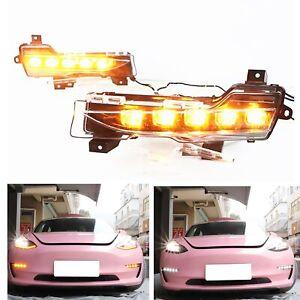 For Tesla Model 3 Model Y LED Fog lights Daytime Running Lights Lamp Pair US