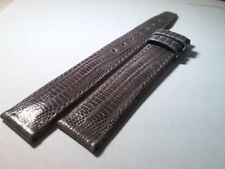 Movado band 15mm/13.5mm GRAY, lizard-look, genuine leather, Swiss Made