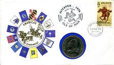 Coin Cover 1976 American Bi-Centennial, Isle of Man Crown