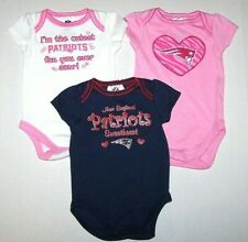 New England Patriots Logo SS Bodysuit Romper Top Shirt Snaps Football Baby Girl
