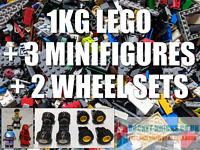 LEGO BUNDLE 1Kg Mixed Pieces + 3 MINIFIGURES + 2 WHEEL SETS - clean & genuine