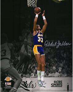 """Kareem Abdul-Jabbar LA Lakers Signed 11"""" x 14"""" Spotlight Shot vs Celtics Photo"""