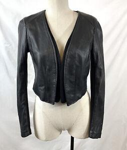 H&M Bolero Open Crop Jacket Size 8 Faux Leather Long Sleeve