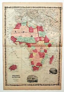 "1860 ""AFRICA"" ANTIQUE AUTHENTIC ORIGINAL A.J. JOHNSON CONTINENTAL MAP RARE"
