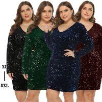 Women's Sexy V-Neck Sequins Dress Bodycon Nightclub Ball Gown Dresses Plus Size