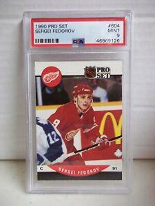 1990 Pro Set Sergei Fedorov RC PSA Mint 9 #604 NHL HOF Detroit Red Wings POP 14