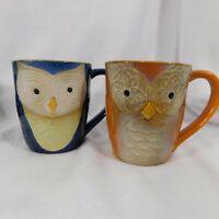 Gibson Elite Couture Owl Coffee Mugs Tea Cups Set of 2 Orange Blue Glazed GUC