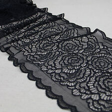"""1 Yard Black Bilateral Rose Stretch Lace Trim Tulle For Craft Lingerie Wide 8"""""""