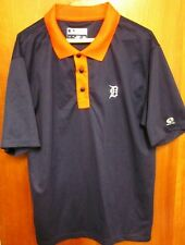 DETROIT TIGERS blue Olde English D athletic polo shirt lrg baseball polyester
