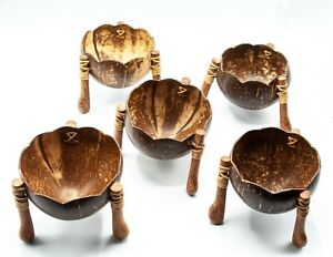 Coconut shell wood bowl set of 5 food rice handcraft kitchen dining