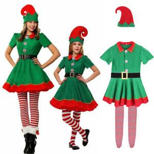 Ladies Elf Costume Adult Girls Christmas Fancy Dress Womens Santas Helper Outfit