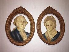 VTG George Martha Washington Silhouette Bust Portrait Picture Resin Wood Plaster