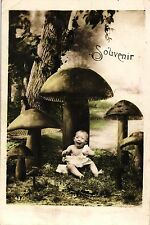 Kind mit Pilzen, Pilz, Foto-AK, 1913