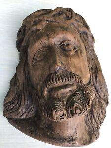 Sculpture ancienne bois visage Christ buste religieux