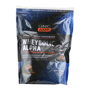 GNC AMP Wheybolic Alpha Protein + Test & Power Chocolate Fudge 1.36 LB