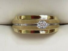 10K Yellow Gold Men's Beautiful Diamond Ring TCW ~ .108 Sz 10.125 (5.6g)