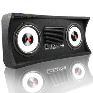 "Nakamichi Dual 10"" Active Subwoofer Box 1200W Max 2 Ohm Car Audio NM-NBX210A"