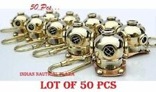Lot Of 50 Divers Helmet Solid Brass Key Chain Scuba Diving Mini Helmet Key Ring