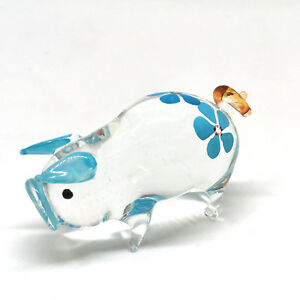 Farm MINIATURE HAND BLOWN GLASS Pig FIGURINE Flower Painted Gift Collection