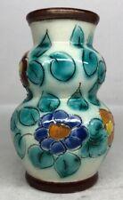 Petit Vase Décor Floral Signé Cérart Monaco H 10 D 6,5 Cm N32