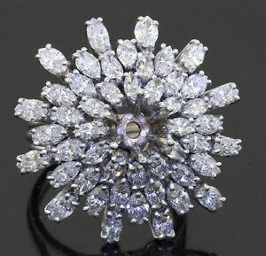 Platinum 7.0CTW VS diamond cluster Ballerina cocktail ring semi-mounting size 6