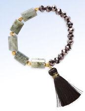 PANACEA Crystal Bead, Labradorite Stone & Tassel Stretch BRACELET