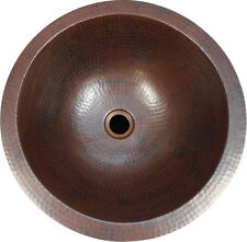 """TWO 15"""" Round Hand Hammered Copper Bathroom Sinks -- Matched Pair"""