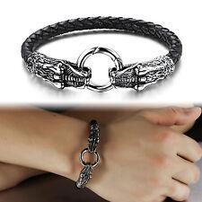 New Genuine Leather Bracelet Stainless Steel dragon Biker Clasp Women Men Bangle
