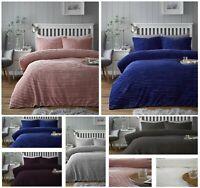 RIBBED Reversible Soft Winter Warm Teddy Fleece Duvet Quilt Cover Bedding Set