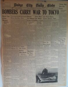 1942 Vintage Newspaper Bombers Carry War to Toyko WWII Allies Japan B24 Bomber