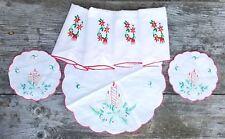 Vintage 7 pc Christmas Holiday Napkins Table Doilies Embroidered Linens Set Lot