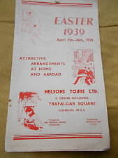 The Easter 1939 Nelson Tours Ltd, Trafalgar Square, London Brochure With Prices