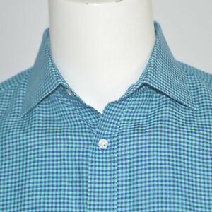 THOMAS PINK Slim Fit Linen Cotton Green Navy Check Dress Shirt Sz 15.5 - 35