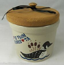 Country Crock LOVE FROM MINNESOTA Roseville Ohio 1 pt Canister & Wood Lid Duck