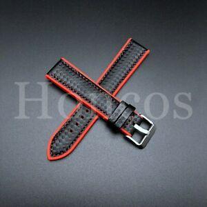 20 MM Red Rubber Strap Band Replacement Black Carbon Fiber 2021 Vintage Sport