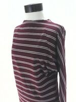 FREE PEOPLE Ardmore Knit Top Burgundy Stripe Dolman Tie Neck L/S Boho M $88