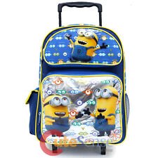 """Despicable Me Minions Large School Roller Backpack 16"""" Wheeled Rolling Bag -Eyes"""