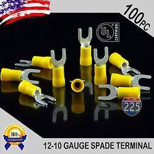 100 Pack 12-10 Gauge Vinyl Spade Fork Crimp Terminals #10 Stud Tin Copper Core