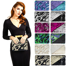 Ladies Girls Reversible Sequin Designer Purse Sparkly Womens Wedding Hand Bag