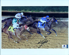 MIKE SMITH Signed 8x10 Photo Aboard GAME ON DUDE Charles Town Classic Jockey GAI