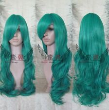NEW WOMEN'S green long curly cosplay wig H111