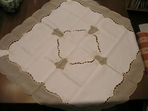 """Gold and Ivory Wedding/Christmas Table Cloth/Cover 33"""" X 33"""""""