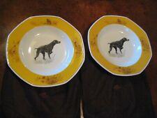 """RARE!! HERMES Chiens Courants & Chiens d'Arrêt  Jumbo 13"""" Pasta Bowls SET of 2"""