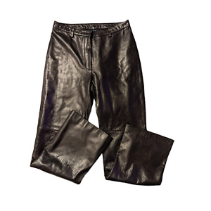 ANN TAYLOR 100% Leather Pants Black Size 6 Lined Straight Leg
