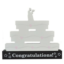 Wedding Signature Block Free Standing White Wood Plaque Guests Sign Pen Included